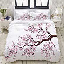 MOKALE Duvet Cover Set, Branch of a Flourishing Sakura Tree Flowers Cherry Blossoms Spring Theme Art, Decorative 3 Piece B...