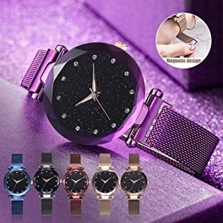 Acnos Black Round Diamond Dial with Latest Generation Purple Magnet Belt Analogue Watch for Women Pack of - 1 (DM-PURPLE22)