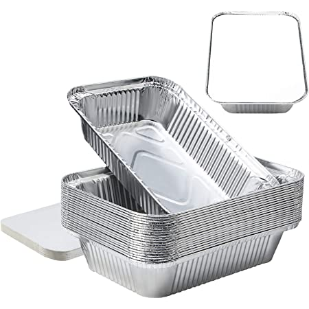 8''x6''x2''Aluminum Pans Foil Pans with Lids, Aluminum Pans Disposable with Covers 20 Foil Rectangle Pans and 20 Lid, 3.3lb Max allowable Load Food Storage Containers for Cooking, Baking, Meal Prep