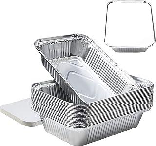 8''x6''x2''Aluminum Pans Foil Pans with Lids, Aluminum Pans Disposable with Covers 20 Foil Rectangle Pans and 20 Lid, 3.3l...