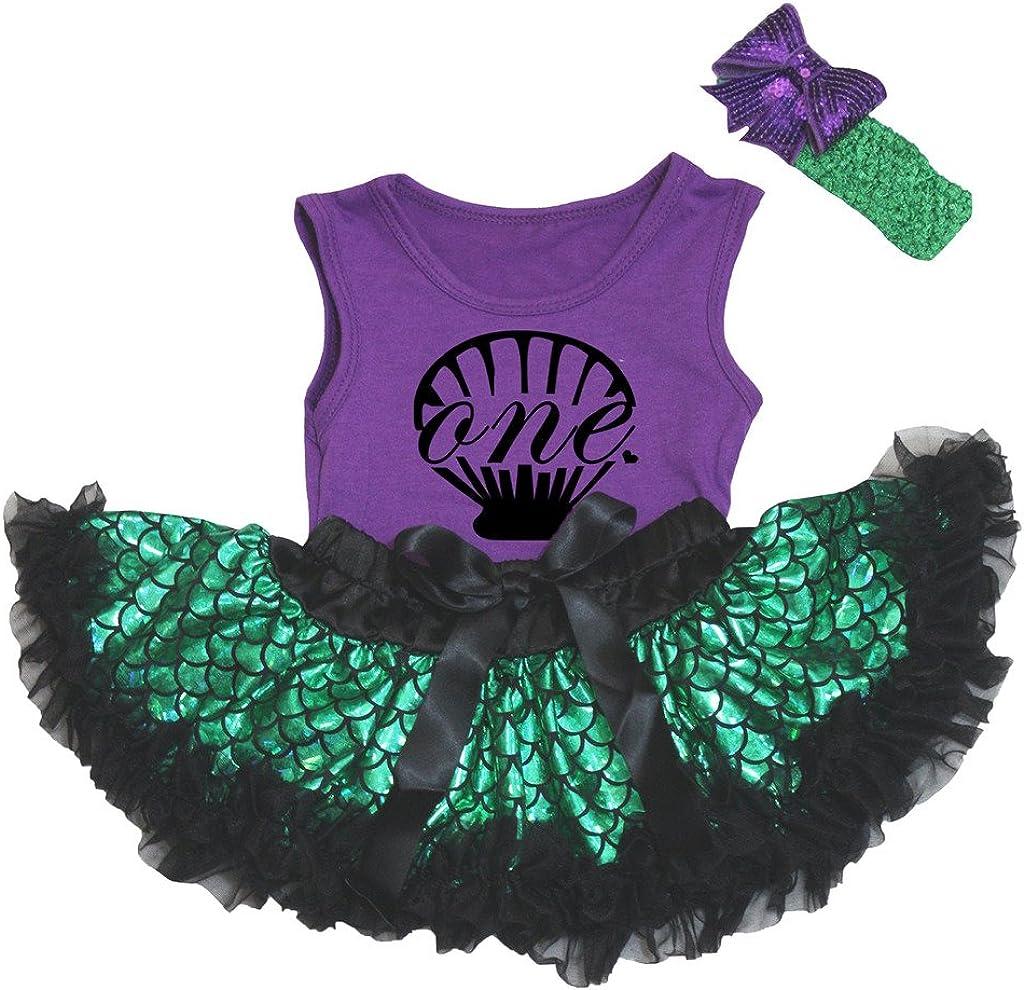 Petitebella One Shell Purple Shirt Scale Topics on TV Mermaid Green Baby Year-end gift Fish