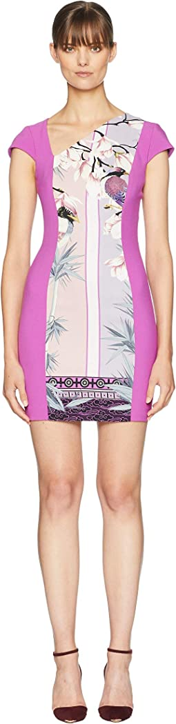 Print Blocked Side V Dress