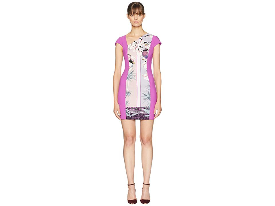 Versace Collection Print Blocked Side V Dress (Pink) Women