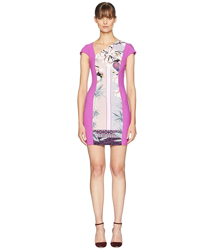 Versace Collection Print Blocked Side V Dress (Pink) Women