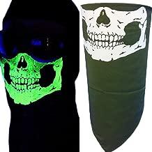 My Skull Store Adjustable Close Olive Green Glow in the Dark Bandana Half Skull Face Neck Mask Cover