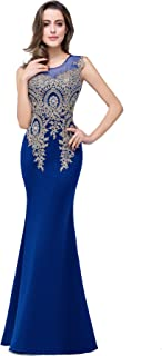 d5bb3896172 FREE Shipping by Amazon. MisShow Women s Rhinestone Long Lace Formal  Mermaid Evening Prom Dresses