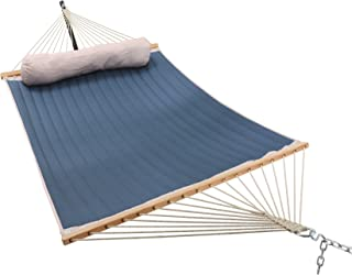 ELC Quilted Fabric Hammock 11 Feet, Outdoor Double Hammocks with Bamboo Spreader Bars, a Pillow and Chains and Steel Hooks (Blue)