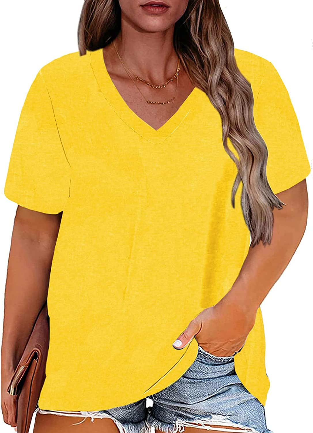 Women's Plus Size Tops V Neck Solid Color Short Sleeve Comfy Blouse Casual T Shirts