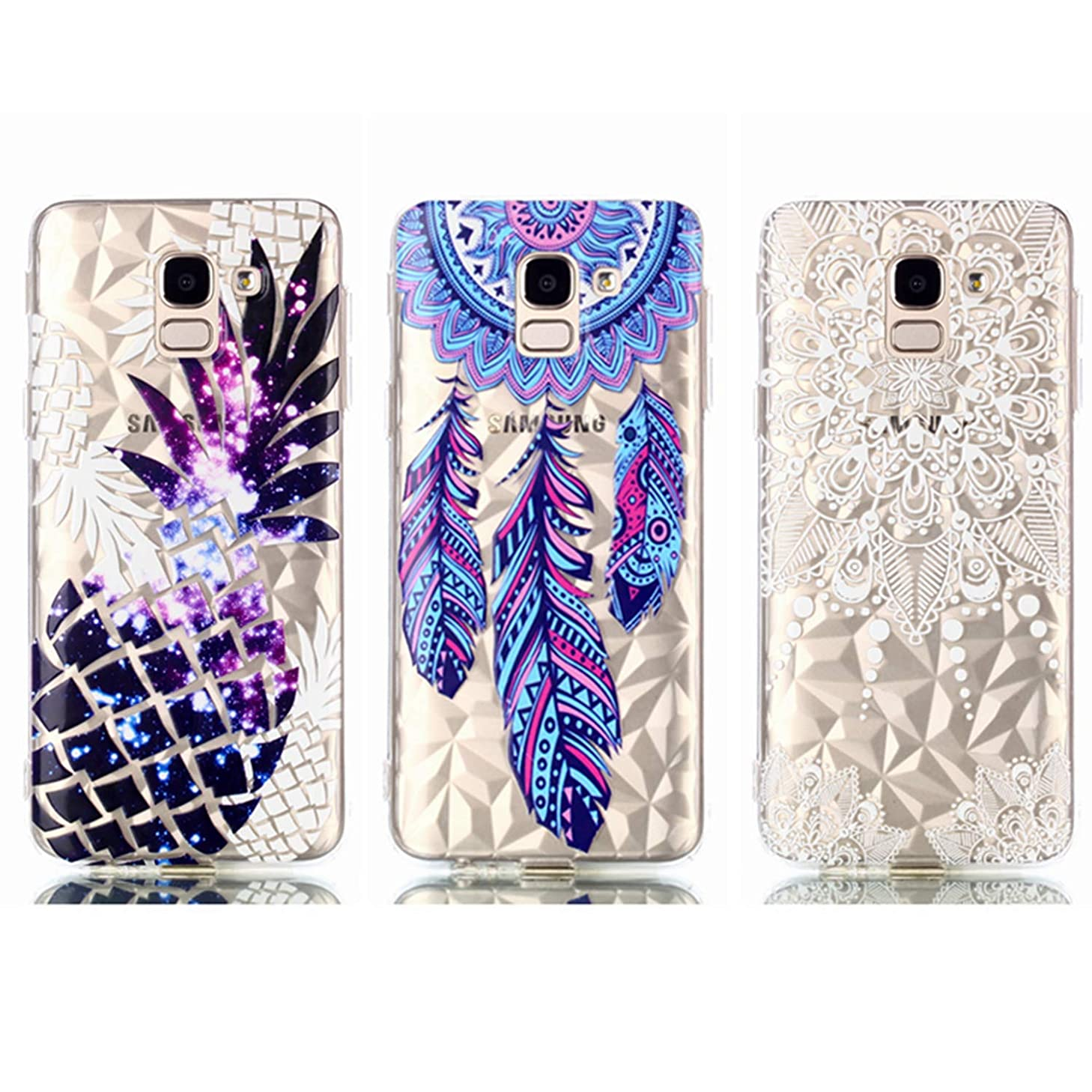 Galaxy J6 2018 Case - 3 Pcs AIIYG DS Soft TPU Rubber Skin Bumper Case Transparent Crystal Clear Cute Colorful Print Patterns Ultra Thin Slim Protective Cover for Samsung Galaxy J6 2018 Dream Catcher