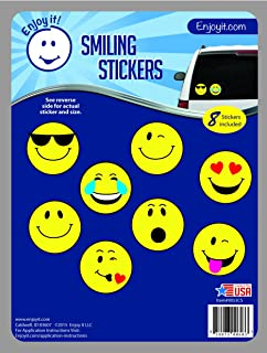 Enjoy It Smiling Car Stickers, 8 pieces, Outdoor Rated Vinyl Sticker Decals