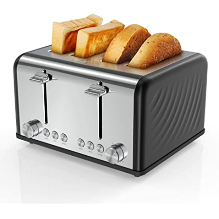 """Famistr Toaster 4 Slice,1.5"""" Extra Wide Slots Toaster, Easy Disassembly and Cleaning Removal Crumb Tray Stainless Steel Toasters ,6 Bread Shade Settings, 1650W, Defrost/Reheat/Cancel Function"""