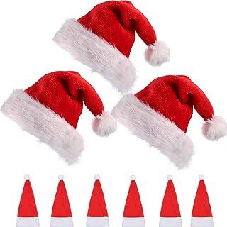 2363e1248bb 3 Packs de Gorra de Papá Noel de Navidad de Felpa Gruesa con lo Interior  Cómodo