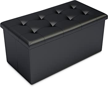 Home Complete Storage Ottoman Faux Leather Rectangular Bench