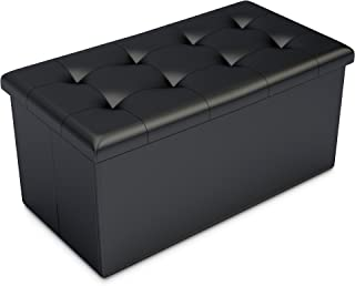 Home-Complete Storage Ottoman-Faux Leather Rectangular...