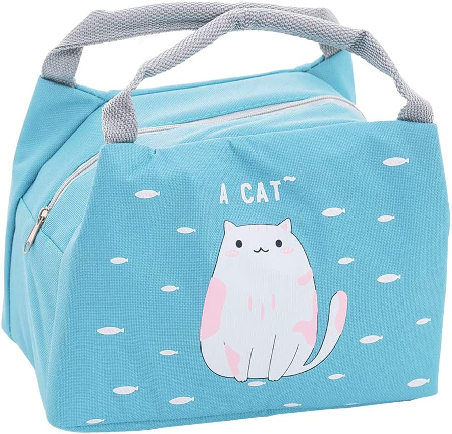 Oyachic Cute Thermal Lunch Bag Women Lunch box Leakproof Insulated Bag Zipper Tote Bag with Foil Liner for Office School and Picnic (cat)