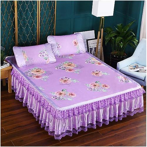 YONGYONG Ice-mat Jupe De Lit en Maille De Soie Estivale Imprimée en Trois Parcravates été (Couleur   violet, Taille   2  2m Bed)