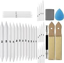 33 Pcs Blending Stumps Tortillions Set Sketch Drawing Tools Art Blenders with Sketch Sandpaper Pencil Sharpener, Pencil Extension Tool, Drawing Kneaded Eraser Sponge Sketch for Student Sketch Drawing
