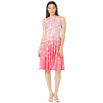 Gabby Skye Scuba Seam Down Fit N Flare (Watermelon/Cream) Women