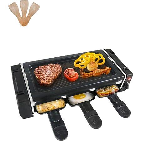 Raclette 2 Personnes Appareil a Raclette Mini Gril avec 3 Poêlons et 3 Spatules en Bois, Revêtement Anti-adhésif, Température Réglable, Facile à Nettoyer - 700W
