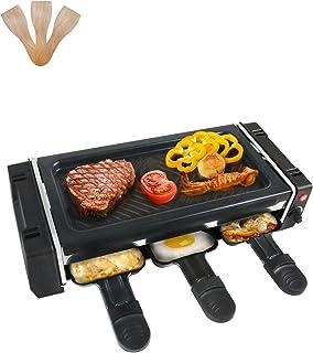 Raclette 2 Personnes Appareil a Raclette Mini Gril avec 3 Poêlons et 3 Spatules en Bois, Revêtement Anti-adhésif, Températ...