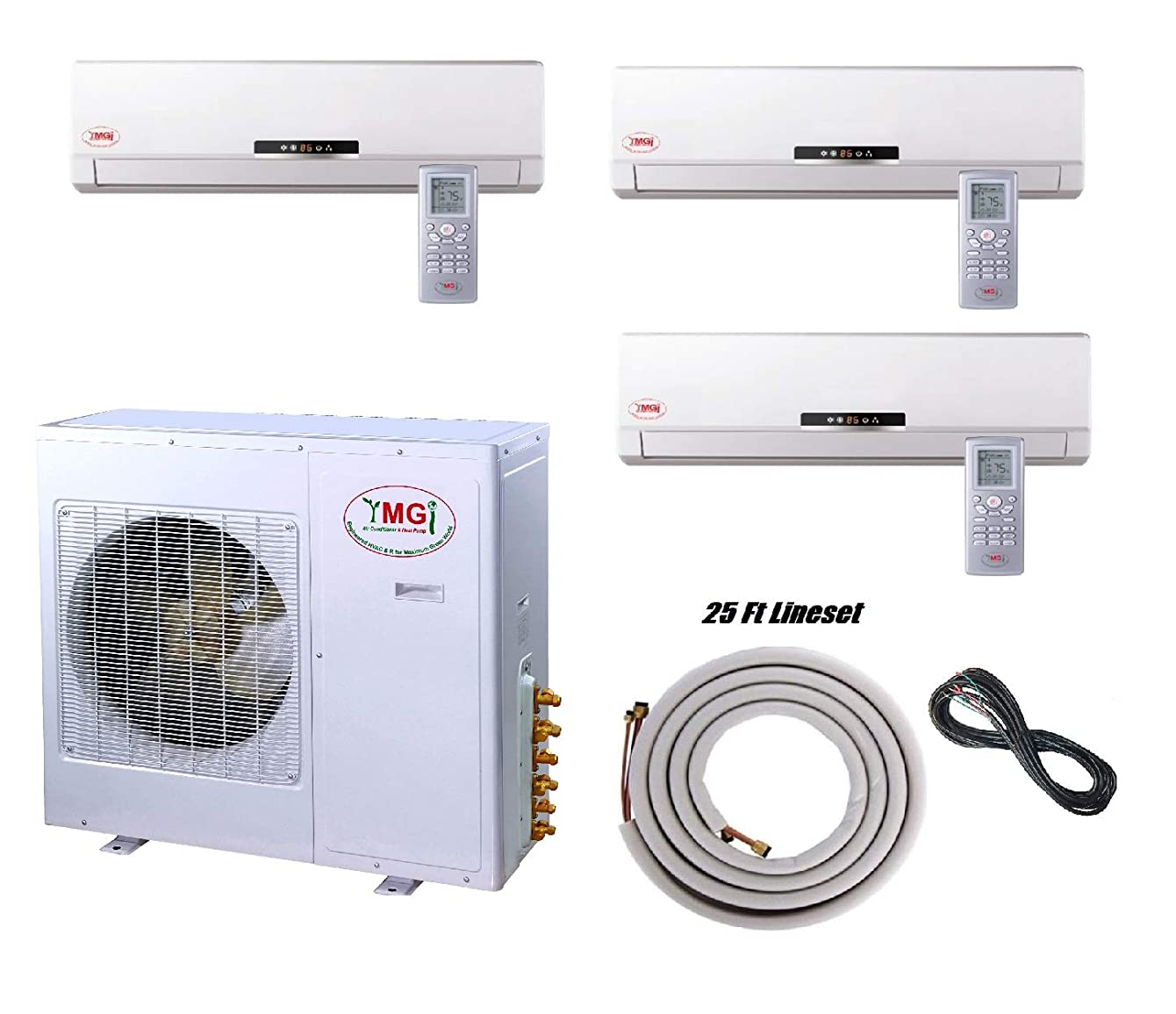 YMGI Tri Zone 3 Zone Ductless Mini Split Air Conditioner - 27000 BTU (9k+9k+9K) 2.25 Ton 21 SEER with Wall Mount Indoor Unit Lineset and Wire Included