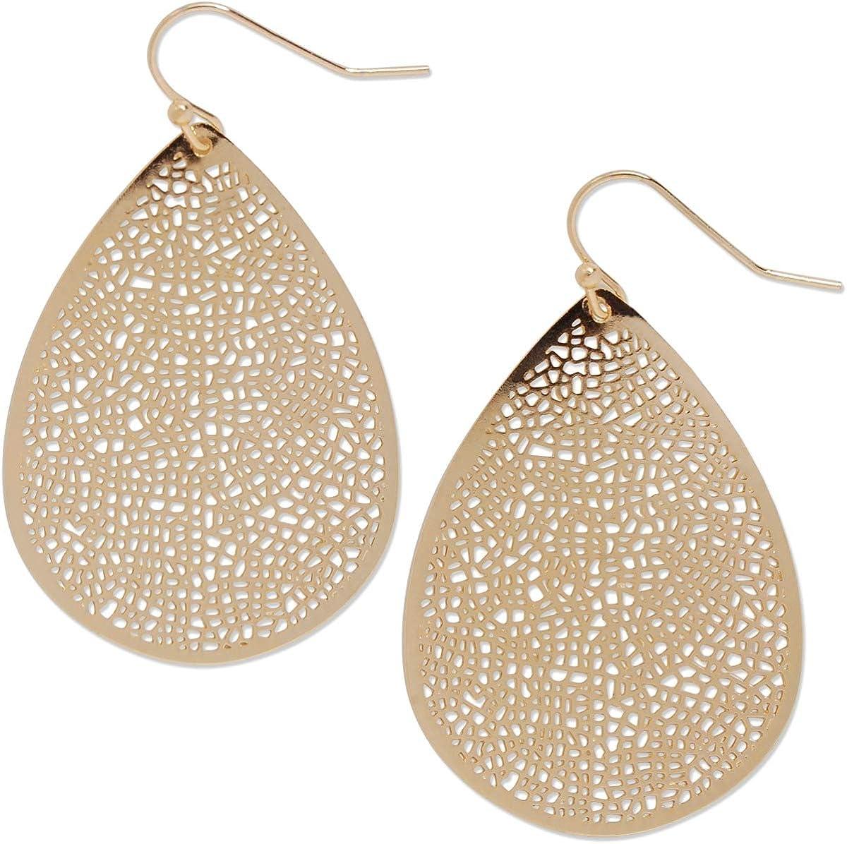 Humble Chic Filigree Dangle Earrings - Vintage-Style Teardrop Lightweight Statement Cutout Dangling Drops for Women