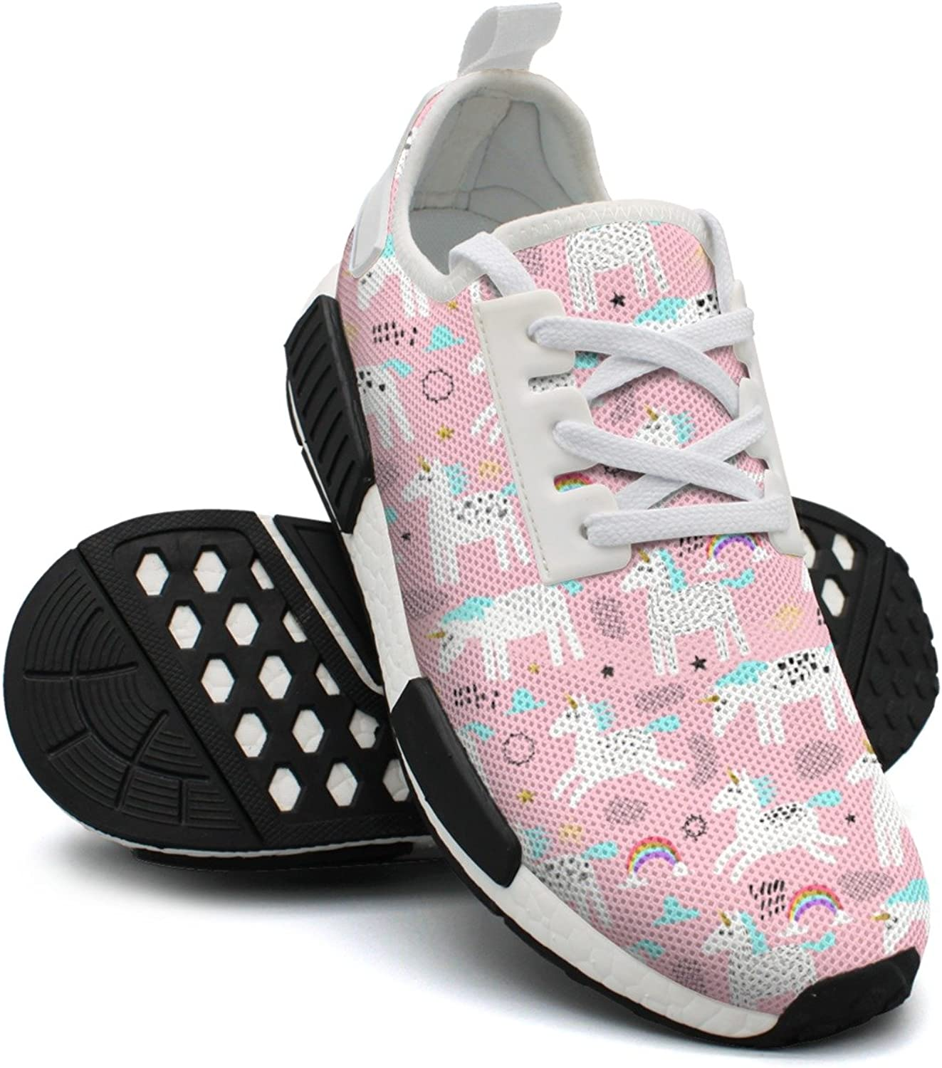 Ktyyuwwww Women Girls colorful Neutral Pink Magic Unicorns and Rainbow Cool Casual Running shoes