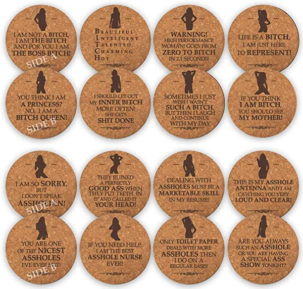 TANGRA Funny Party Cork Coasters Set Of 8 Double Sided Laser Engraved With 16 Quotes Birth Day Gift For Man Or Woman Large Absorbent Bar Coaster For Drinking Table Desk Office
