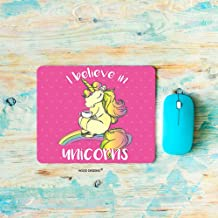 HGOD DESIGNS Unicorn Gaming Mouse Pad,Funny Horse with Horn Drink Tea and Lettering I Believe in Unicorns Mousepad Rectangle Non-Slip Rubber Mouse Pads(7.9
