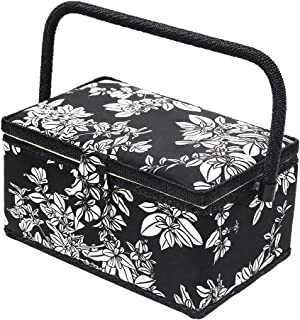 D&D Vintage Sewing Basket Kit, Sewing Box Organizer with Sewing Accessories, Black/White