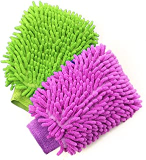 Besmelody House Cleaning and Car Wash Mitts, Home Dusting Microfiber Gloves, Washing Clean Polish Faster (2-Pack, Green/Blue)