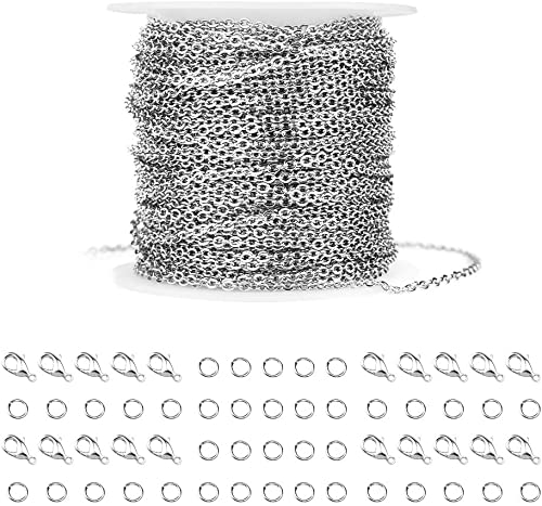 WXJ13 36 Feet Silver Stainless Steel Link Cable Chain with 20 Lobster Clasps and 30 Jump Rings for Men Women Jewelry ...