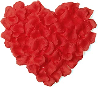 Jasmine 1000 PCS Non-Woven Rose Petals Artificial Fabric Flower for Valentine Ceremony Garden Bouquet Decoration(Red)