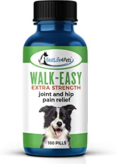 BestLife4Pets Walk-Easy Extra Strength Joint Supplement for Dogs is a Natural, Effective Pet Pain Relief Remedy is Easy to...