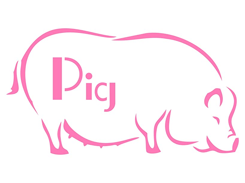 Pig Stencil - 8.25 x 4.5 inch (M) - Reusable Farm Animal Sow Wall Stencils for Painting - Use on Paper Projects Walls Floors Fabric Furniture Glass Wood etc.