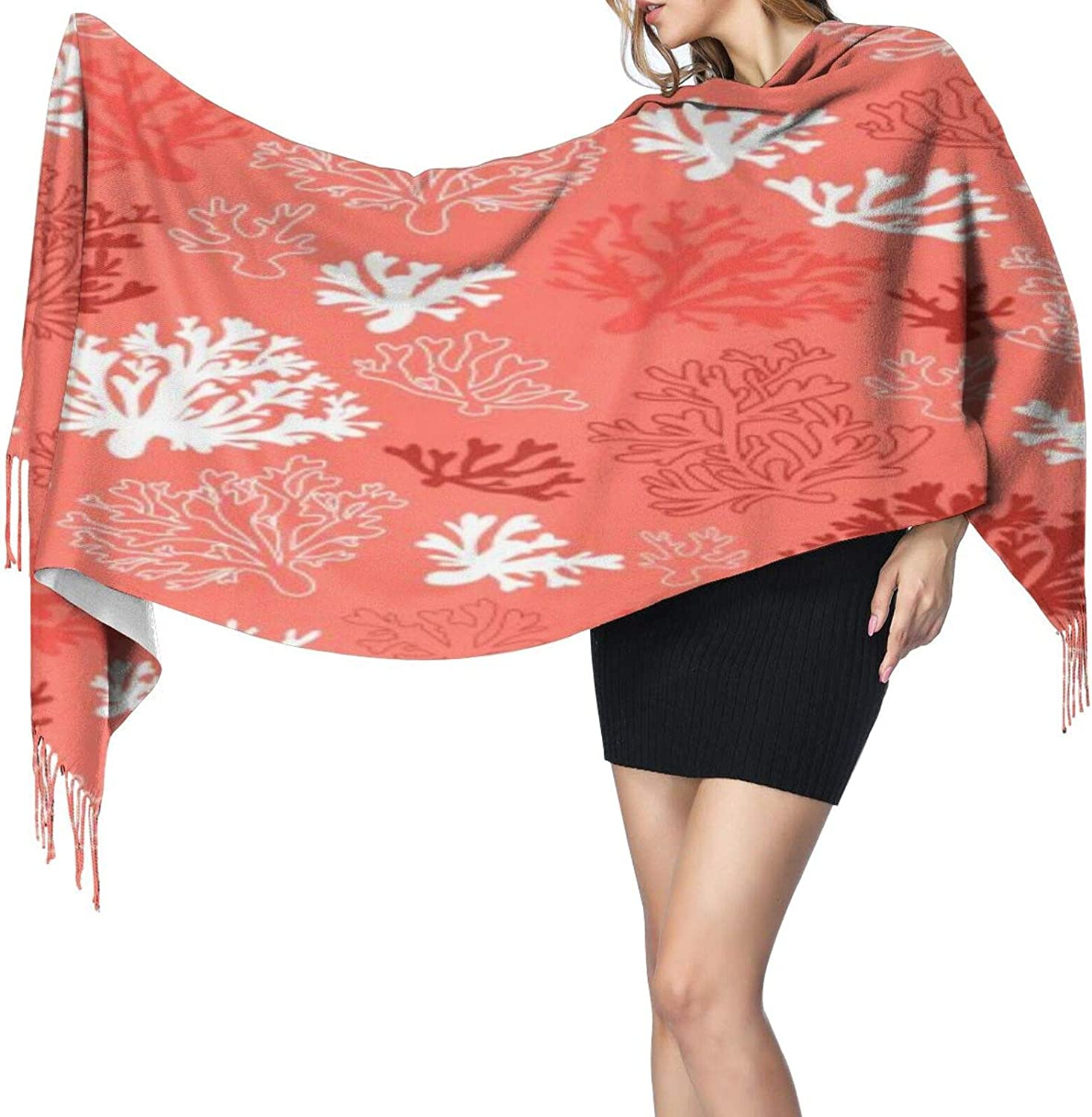 Cashmere fringed scarf Coral winter extra large scarf