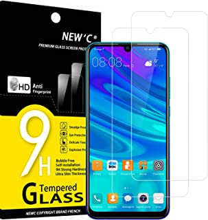 NEW'C 2-pack skärmskydd med Huawei P Smart 2019, Honor 10 Lite, Honor 8A – Härdat glas HD klar 9H hårdhet bubbelfritt