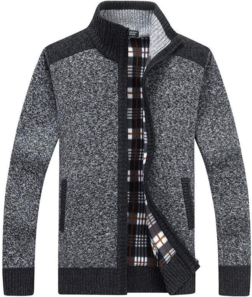 XinYangNi Men's Casual Slim Full At the price Thick Cardigan Swea Zip Minneapolis Mall Knitted