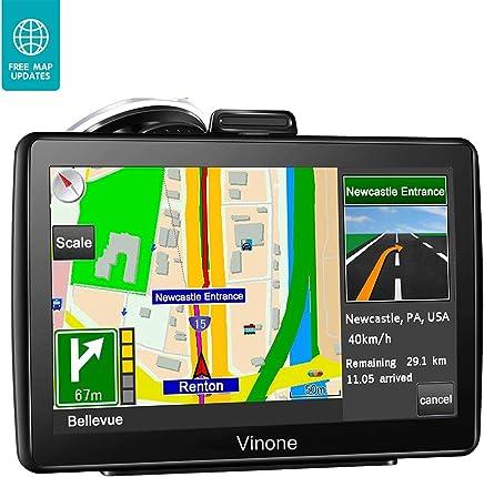 Navegación GPS para coche, 7 pulgadas, 8 GB y 256 MB GPS sistema de navegación, Spoken Turn a Turn Alerta de tráfico vehículo GPS Navegador, actualizaciones de mapas de por vida