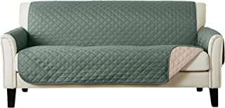 Home Fashion Designs Reversible Sofa Protector. Furniture Protector for Living Room with Secure Straps. Furniture Protectors for Kids, Dogs and Pets. (Sofa, Green/Flax)