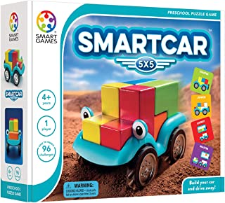 SmartGames Smart Car 5 x 5 Wooden Cognitive Skill-Building Puzzle Game Featuring 96 Playful Challenges for Ages 4+