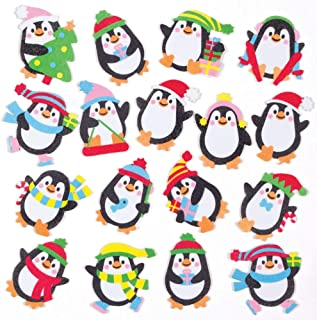 Baker Ross Ltd Penguin Foam Stickers (Pack of 120) - Christmas Arts and Crafts