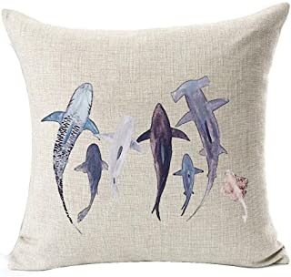 Ink Painting Sea Animal Various Shark Marine Organisms Cotton Linen Throw Pillow Case Personalized Cushion Cover New Home Office Decorative Square 18 X 18 Inches