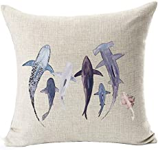Ink Painting Sea Animal Various Shark Marine Organisms Cotton Linen Throw Pillow Case Cushion Cover Home Office Decorative...