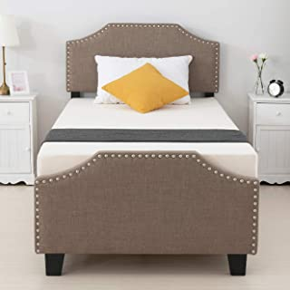 mecor Twin Upholstered Linen Platform Bed with Curved Shape Headboard and Footboard, Metal Frame with Strong Wood Slat Support, No Box Spring Needed, Brown, Twin Size