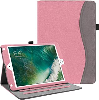 Fintie Case for iPad 9.7 2018 2017 / iPad Air 2 / iPad Air - [Corner Protection] Multi-Angle Viewing Folio Cover w/Pocket, Auto Wake/Sleep for iPad 6th / 5th Gen, iPad Air 1/2, Pink