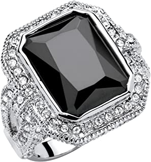 Palm Beach Jewelry Platinum Plated Emerald Cut Black Cubic Zirconia and Round Crystal Ring
