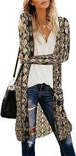 CNFIO Cardigan Donna Estivo Copricostume de Mare Primavera Kimono Elegante Casual Cover Up Cappotto Stampa Leopardo