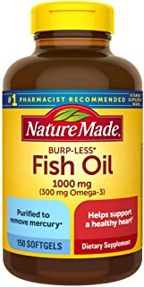 Nature Made Fish Oil Burp-Less 1000 mg, 150 Softgels, Fish Oil Omega 3 Supplement For Heart Health