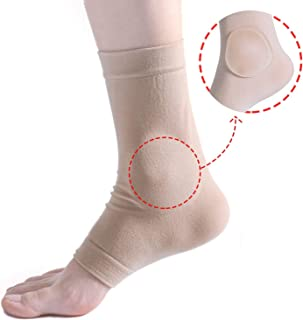Povihome Elasticated Malleolar Sleeve with Two Gel Pads for Ankle Bone Cushioning & Protector, Great for Running, Skating, Cleats and Athletic Footwear - 1 Pair